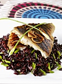 Grilled fish on wild rice