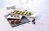 Grilled fig skewers, courgette soufflés with sheep's cheese