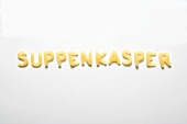 The word SUPPENKASPER (story book character) in alphabet pasta