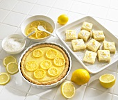 Lemon almond tart and lemon coconut slices