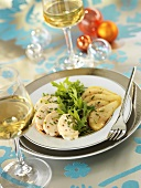 Spiny lobster salad with balsamic cream and rocket