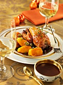 Poussin in chocolate sauce with potato croquettes