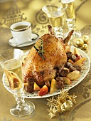 Christmas goose with chestnut and apple stuffing