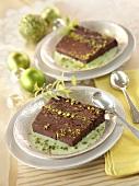 Chocolate pistachio cake in pistachio sauce