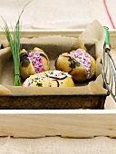 Baked potatoes filled with ricotta and beetroot