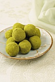 Chocolate truffles rolled in matcha