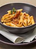 Penne rigate all'arrabbiata (Pasta with spicy sauce, Italy)
