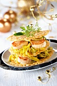 Millefeuille of scallops, leeks and Parmesan wafers