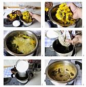 Making dandelion syrup