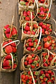 Fresh strawberries in woodchip baskets at a market in Burma