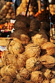A heap of coconuts at a market in Burma