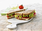 Cheese, lettuce, tomato & beetroot sprouts in wholemeal bread