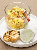 Potato salad with chilli, garlic, coriander and lime