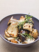 Porcini mushrooms with rosemary, Parmesan and chilli flakes