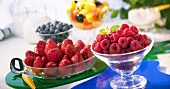 Frozen fruit in glass dishes