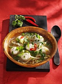 Chicken soup with dumplings and glass noodles (Thailand)