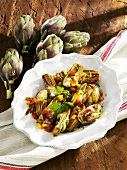 Artichokes with diced peppers