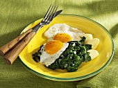 Spinach with fried eggs