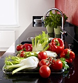 Fennel, tomatoes and peppers beside sink in kitchen