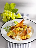 Roast pheasant with green grapes