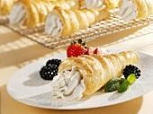 Cream horns with vanilla cream filling