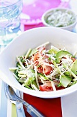 Avocado and tomato salad with bean sprouts