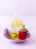 Different teas: Ginger tea with cucumber and orange, Raspberry mint tea