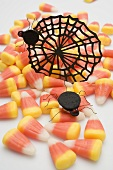 Candy corn, cobweb and spiders for Halloween