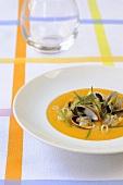 Sweet potato soup with shellfish