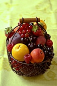 Assorted fruit in a wire basket