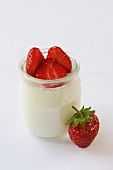 Natural yoghurt with strawberries