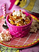 Fried chicken breast with pineapple and popcorn