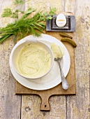 Mayonnaise with ingredients for remoulade sauce