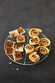 Sweet puff pastries and savoury puff pastry pinwheels