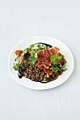Balsamic lentils with fried ham and fresh coriander