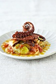 Octopus on tomatoes and figs