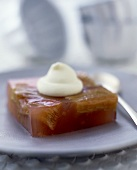 Rhubarb jelly with cream