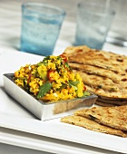 Saffron rice with vegetables and Indian bread