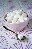 Sugar cubes in sugar bowl and on spoon