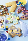 Decorated number biscuits