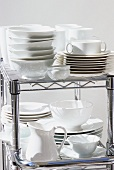 Assorted tableware on a rack