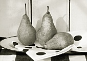 Three pears on a napkin