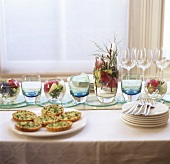 Easter buffet with asparagus quiches