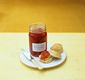 Scone with peach and rosemary jam
