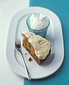 English fruit cake with cream icing and ice cream
