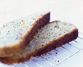 Two slices of lemon and poppy seed cake