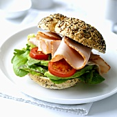 Turkey breast and salad in wholemeal roll