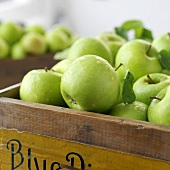 'Granny Smith' apples in a wooden crate