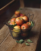 Apples in a wire basket