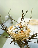 Sweet Easter eggs in a nest